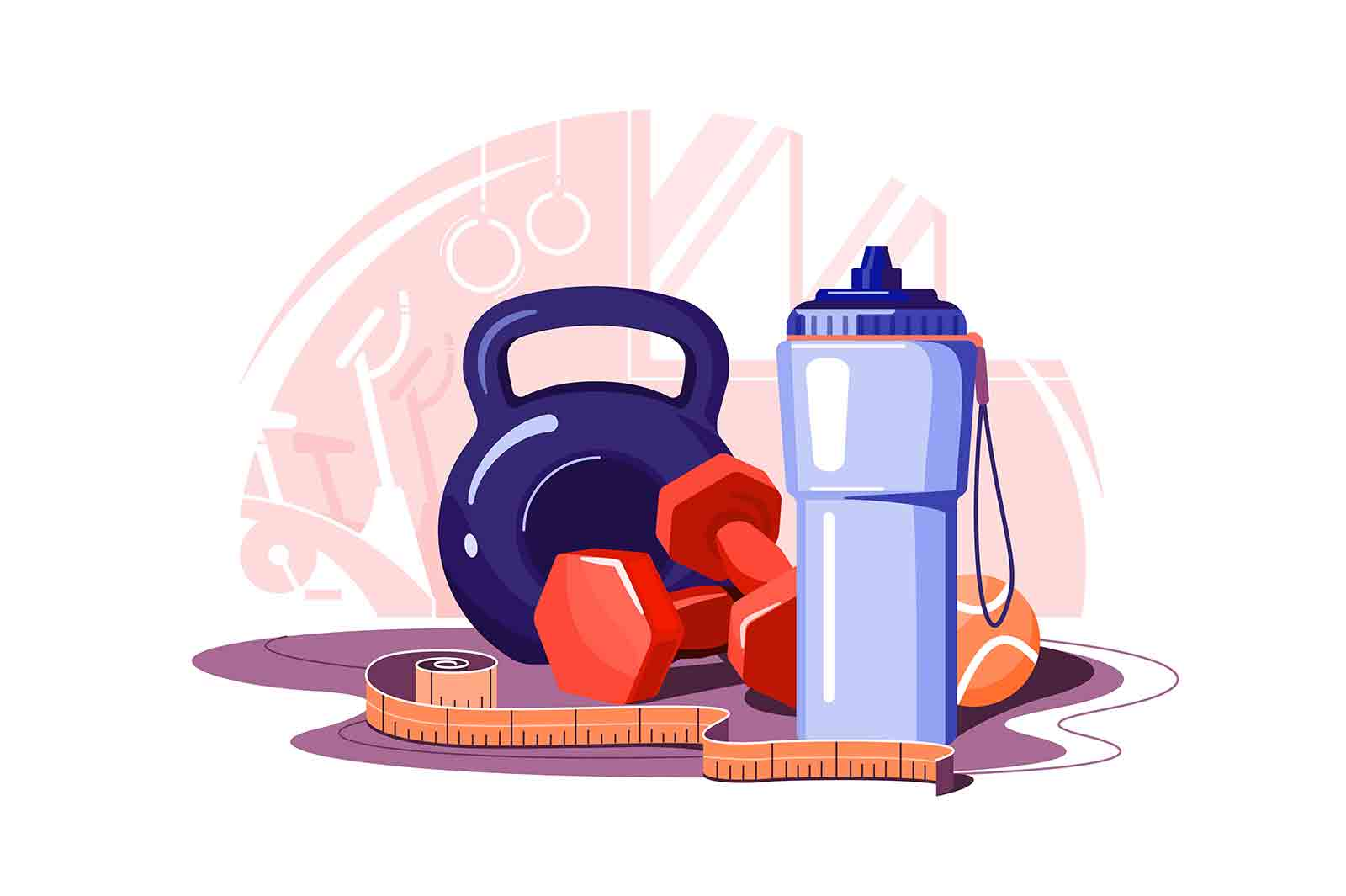 Equipment for fitness and workout vector illustration. Dumbbell, bottle, ball set flat style. Sport, weight loss, activity, gym concept