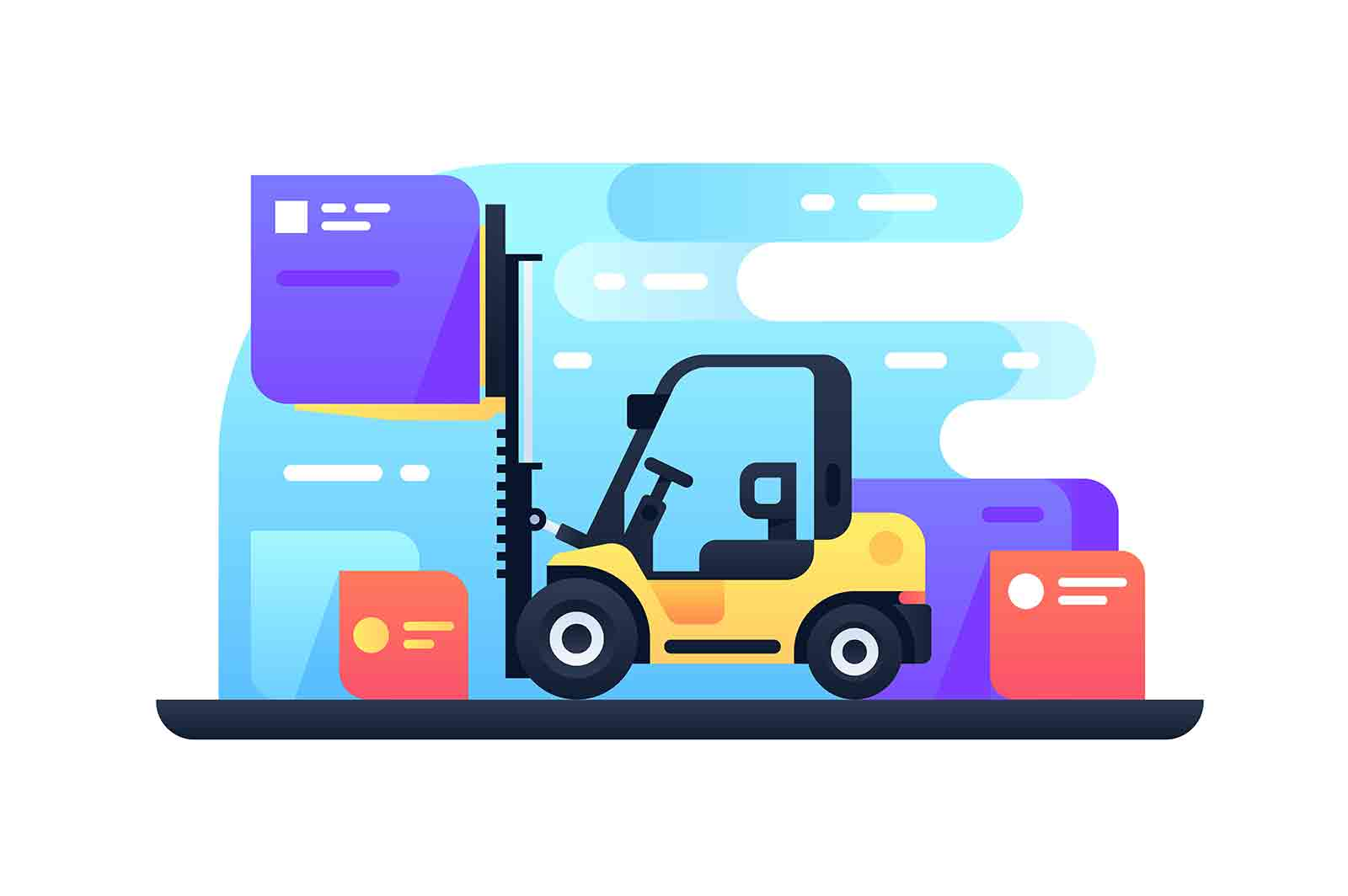 Forklift in stock vector illustration. Machine stacking pallets with boxes by stacker loader flat style. Modern technology. Logistic and goods concept.