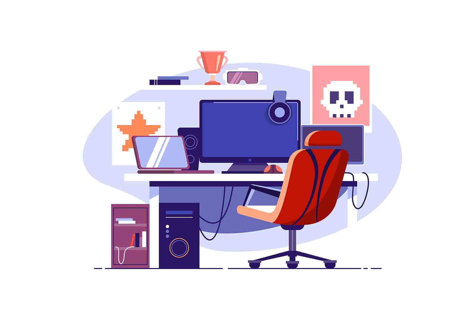 Multiple computer monitors for gaming vector illustration. Gamer room, play video games flat style. Entertainment, fun, addiction concept