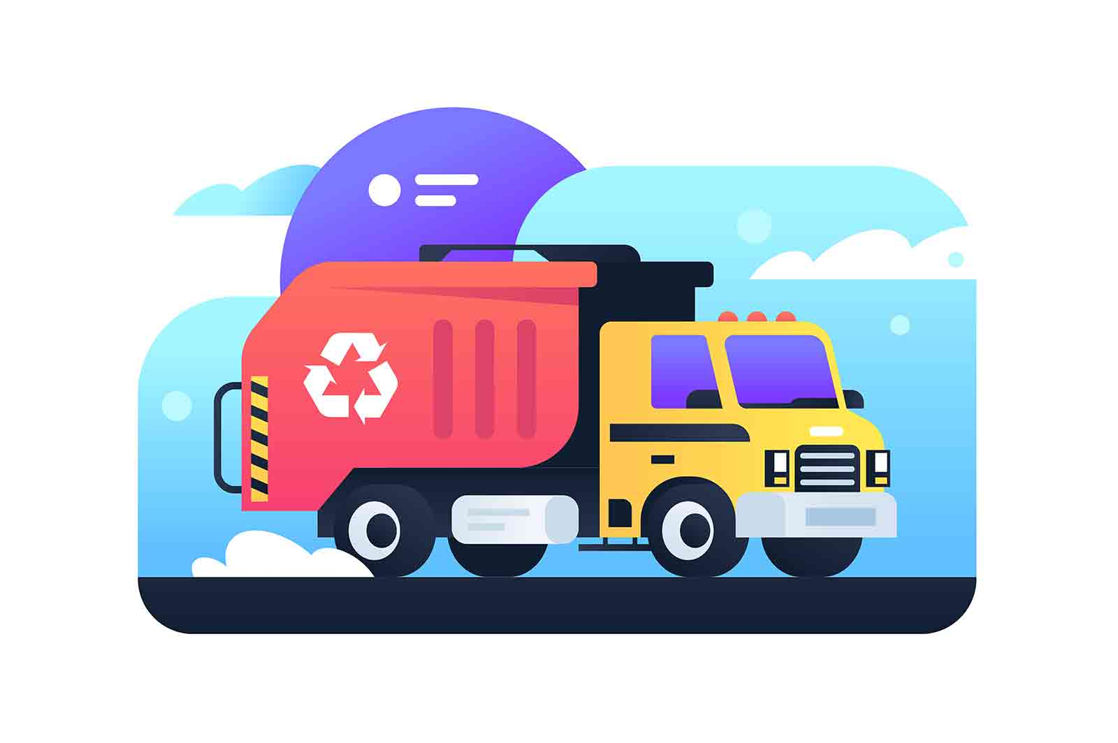 City garbage truck. Isolated concept city cleaning, urban bussines, transport, vehicle. Vector illustraion.