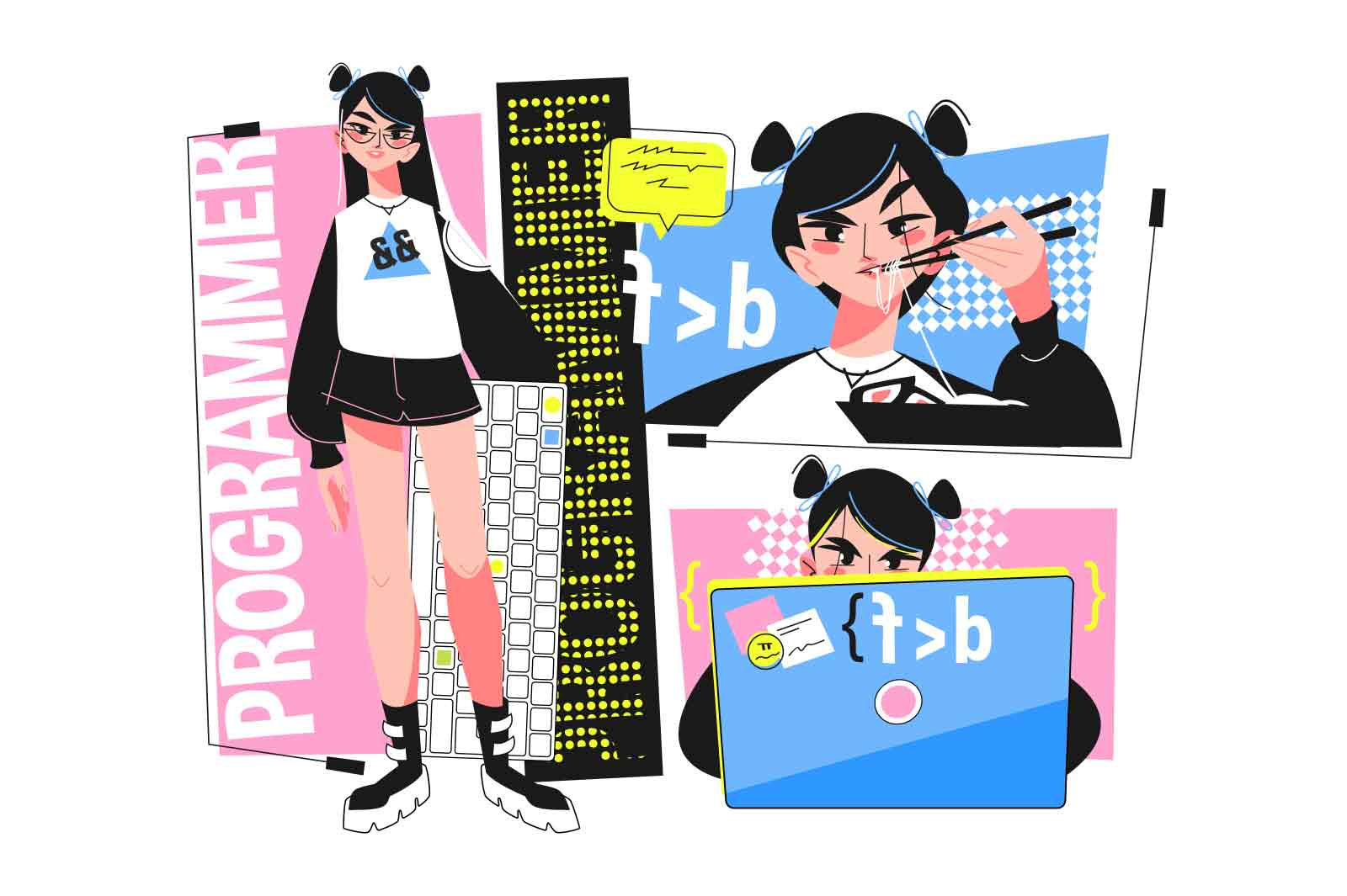 Young girl programmer at work vector illustration. Programmer laptop screen with script flat style. Software and website development concept