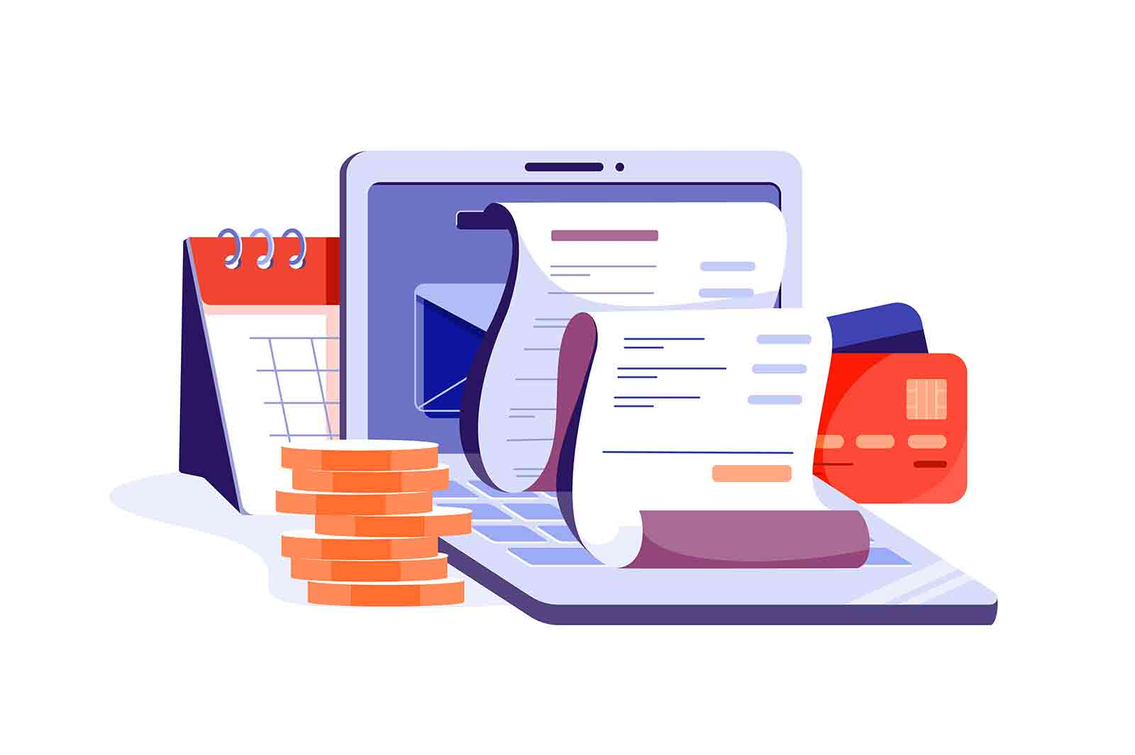 Online digital invoice with bills on laptop vector illustration. Report about vat, payroll and paid money flat style. Accounting concept