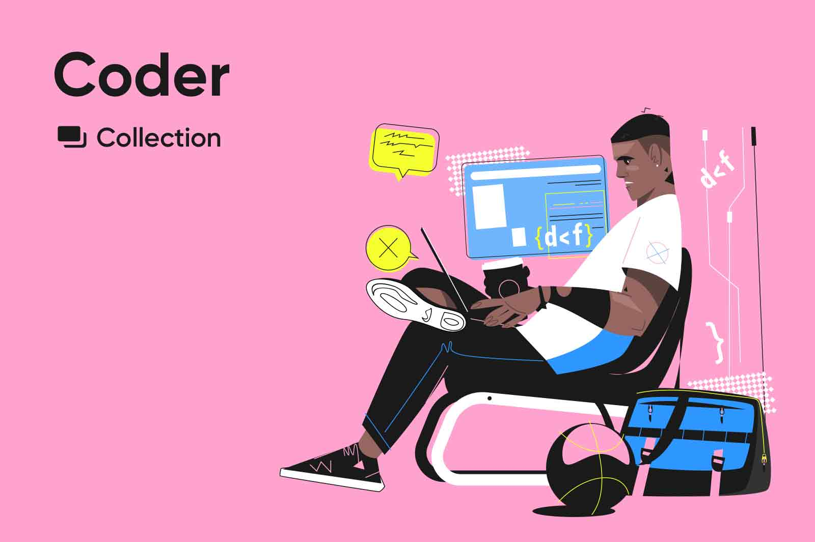 Coder - vector character illustrations of IT specialists professionals, including programmers. Vector source files.