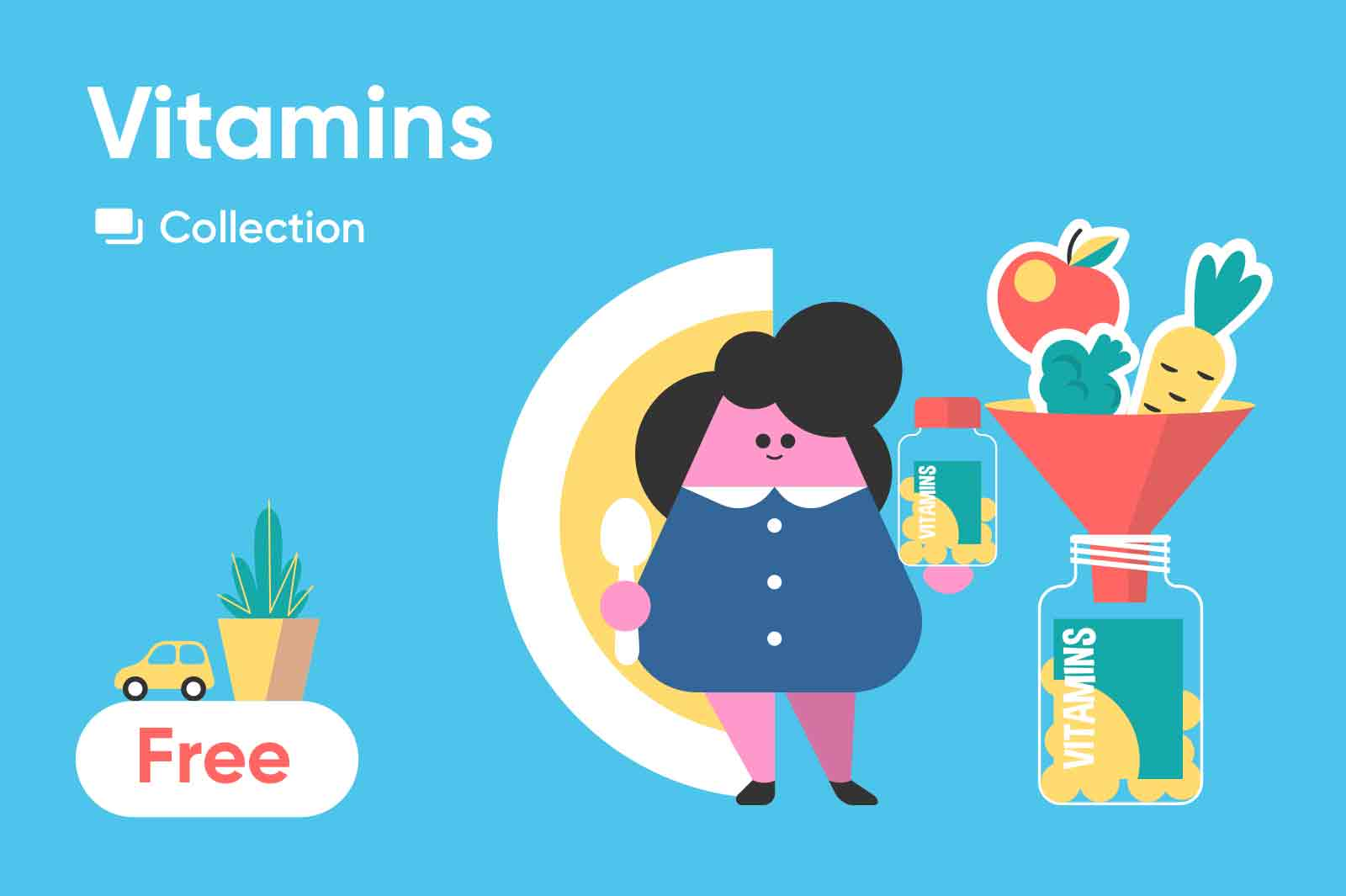 Fun illustration series about yang rapidly growing kids that needs in vitamins and what food and practicies helps kids stay healthy. Vector illustrations