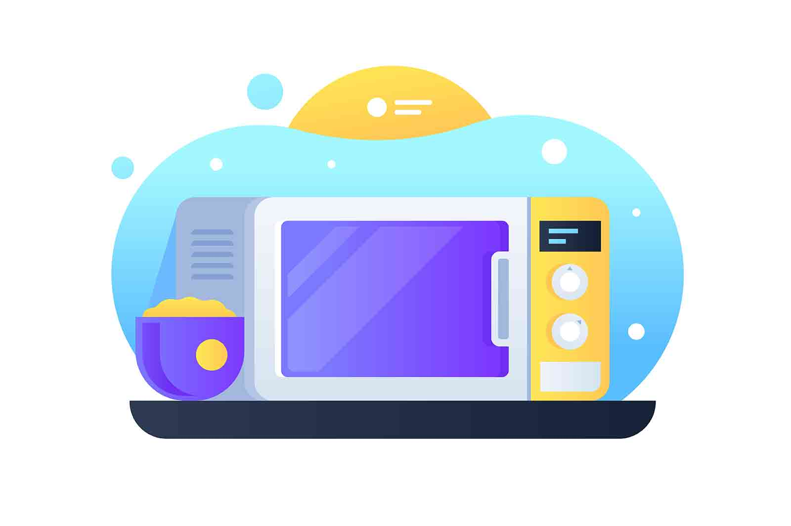 Modern electrical microwave vector illustration. Kitchen equipment for warming meal and products flat style. Dish in blue pot. Domestic appliances concept.