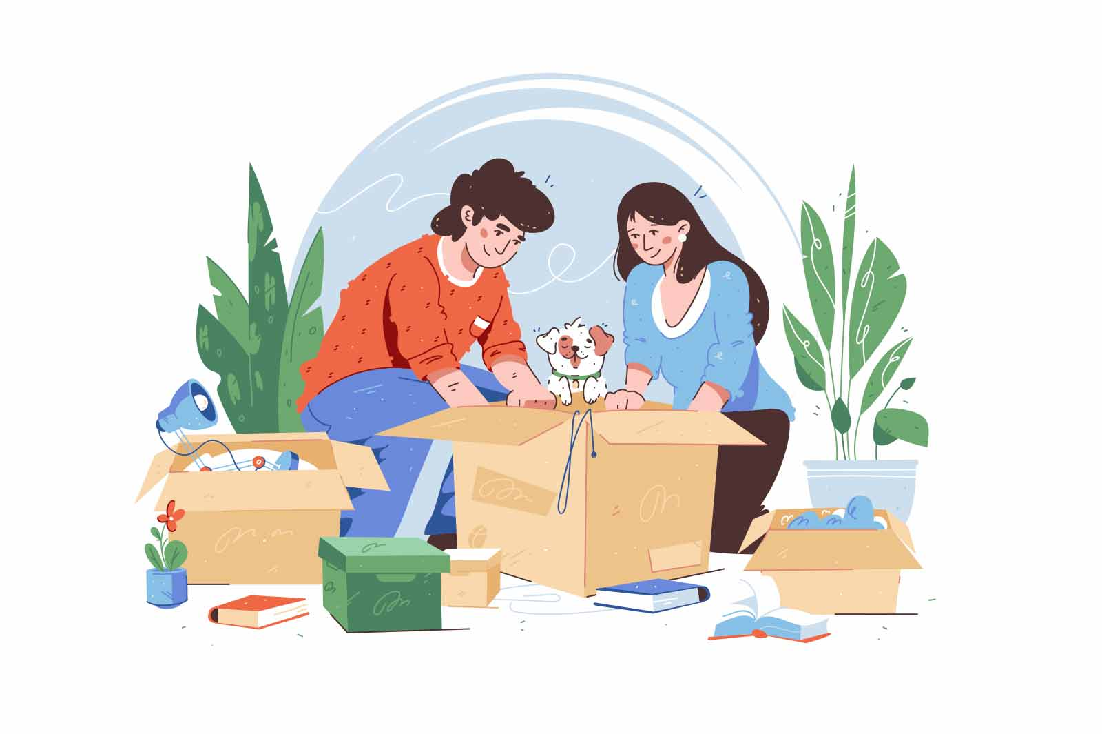 Moving guy and girl packing stuff in boxes vector illustration. Take dog pet with them to new living place flat style. Movement, relocation concept