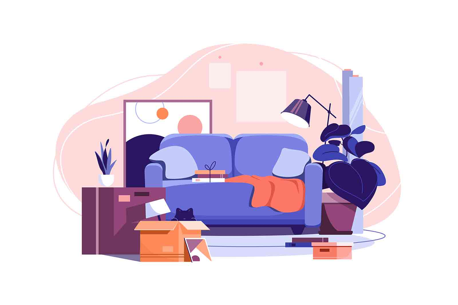 Moving in into new apartment vector illustration. Mess in living room, unpacked stuff flat style. Relocating to new living place concept