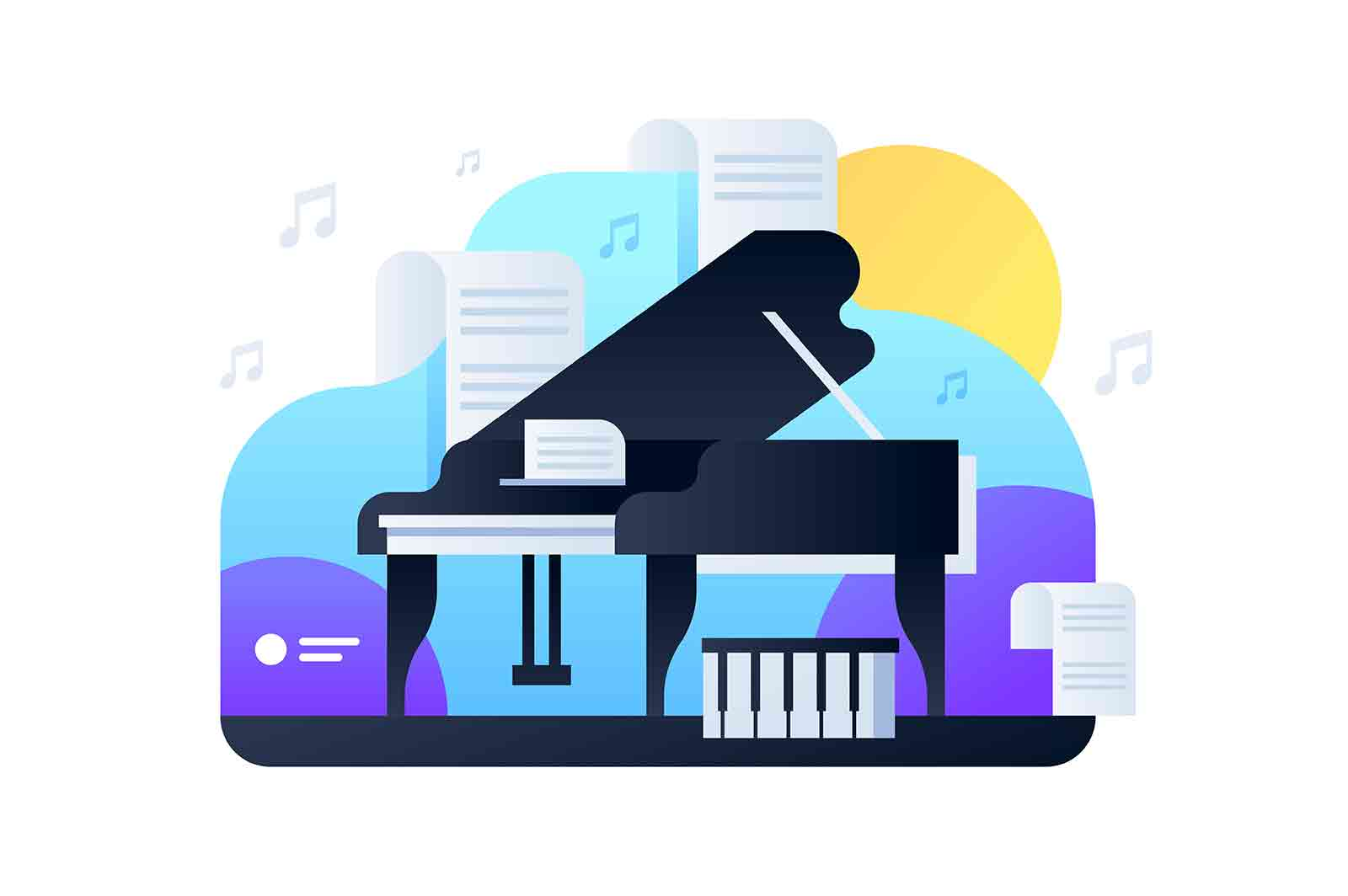 Luxury black piano vector illustration. Musical instrument on stage flat style. Sheet music of famous composition. Concert grand. Hobby concept. Isolated on white background