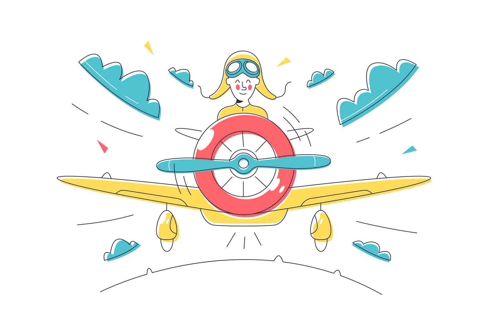 Pilot control plane and fly in sky vector illustration. Happy aviator perform test fly flat style. Air transport, vehicle, aviation concept