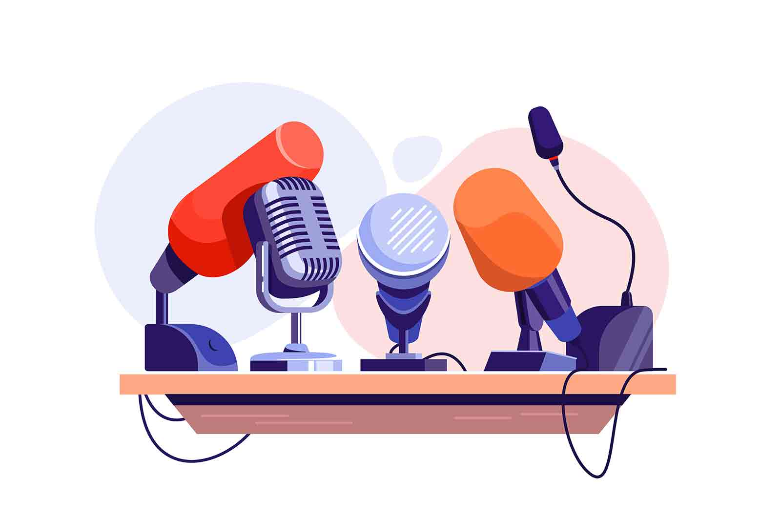 Press conference with microphone on tribune vector illustration. Record human voice flat style. Journalism, interview, public speech concept