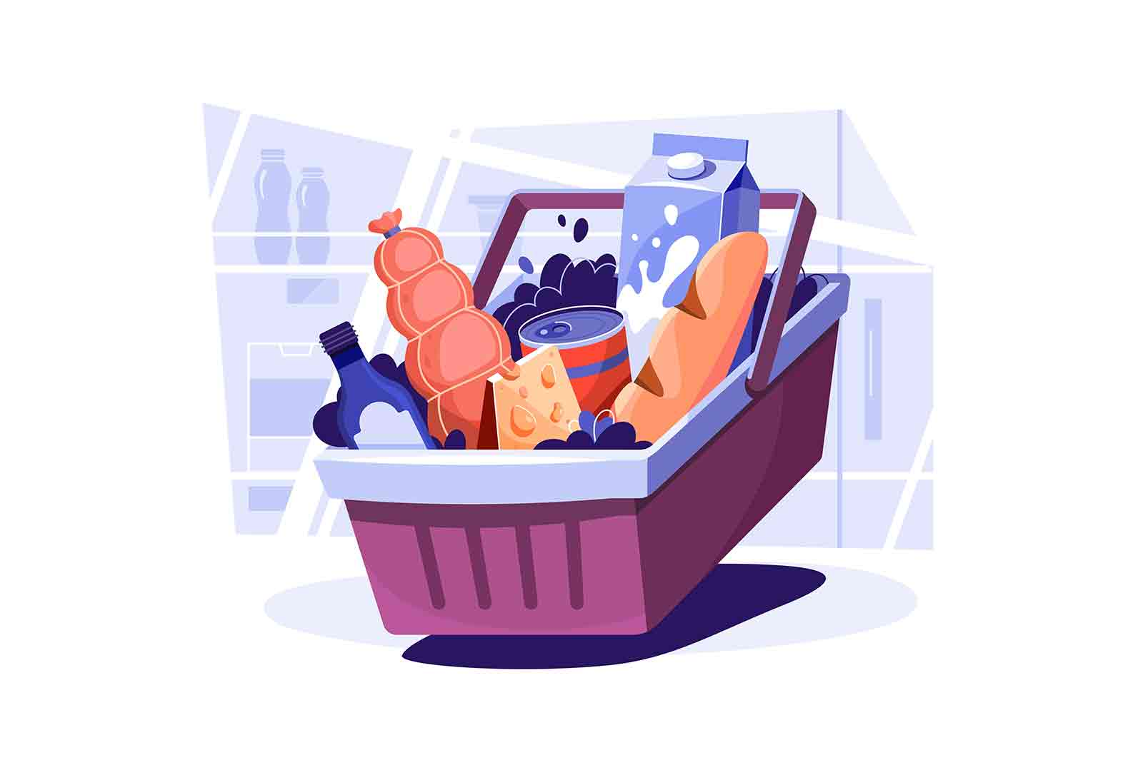 Basket with fresh food products vector illustration. Weekly stock of products flat style. Food shopping, eating, grocery, cooking concept