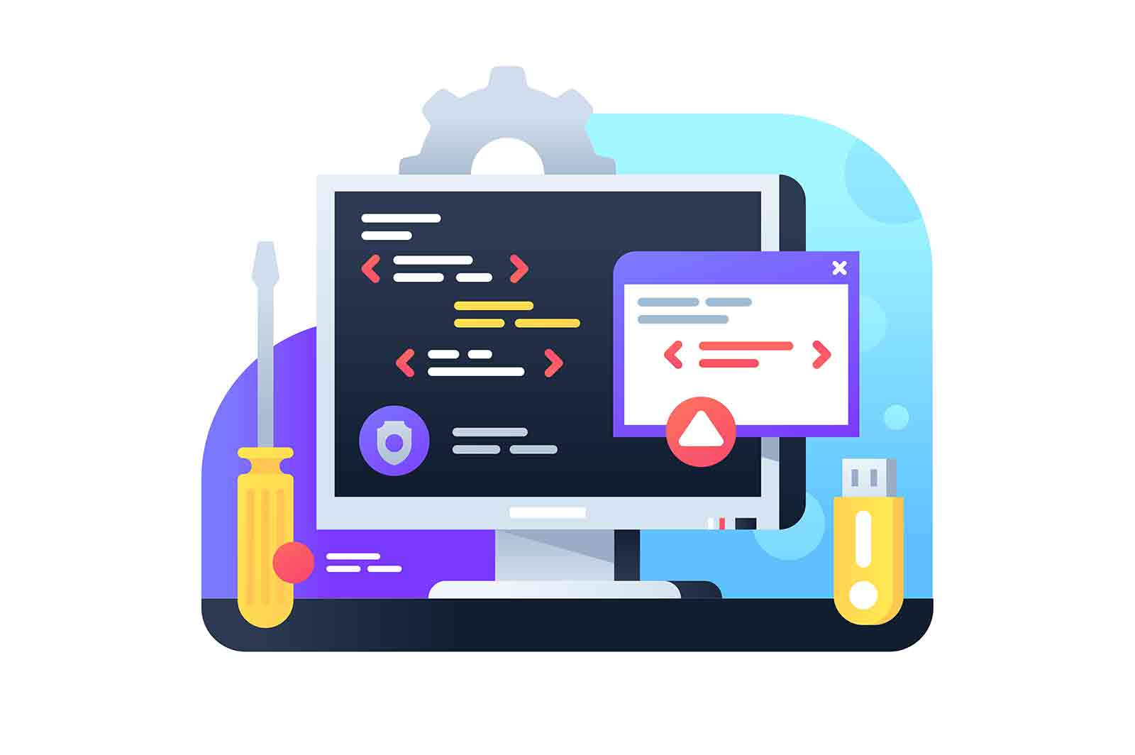 Programming development using pc and IT technology. Isolated icon concept of app using new api for modern business service interface.