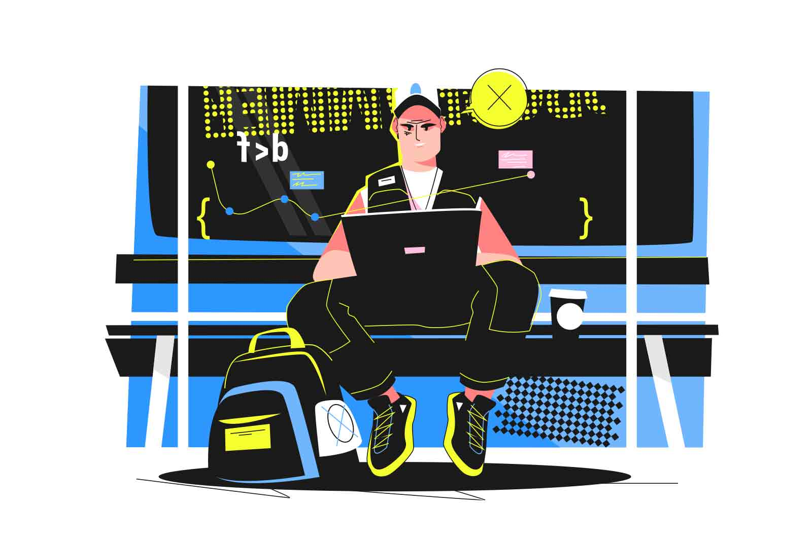 Guy programming on a laptop in subway vector illustration. Study modern computer technology flat style. Computer science, coding concept