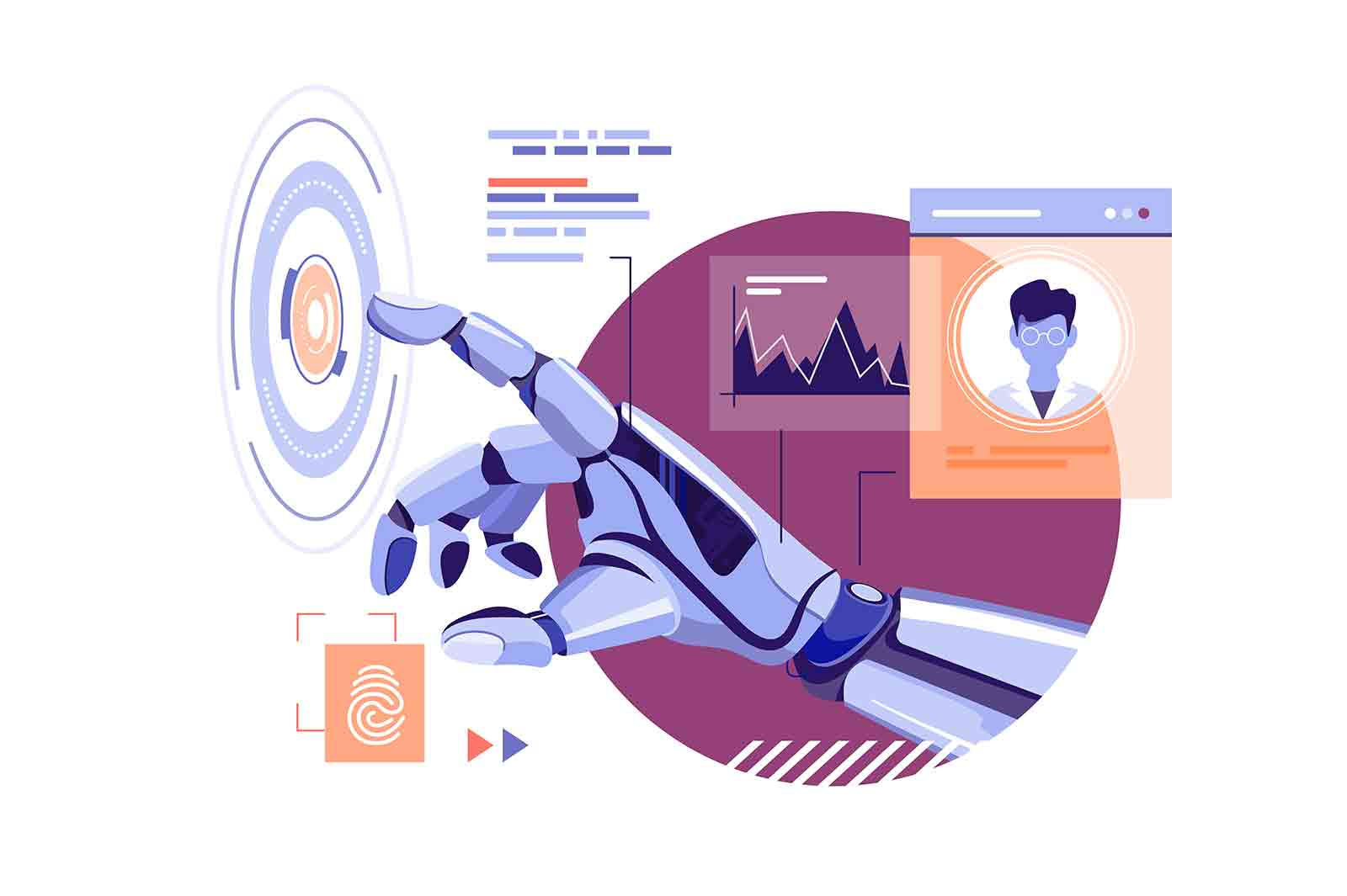 Robot hand touch abstract virtual button vector illustration. Perform command flat style. Artificial intelligence digital technology concept
