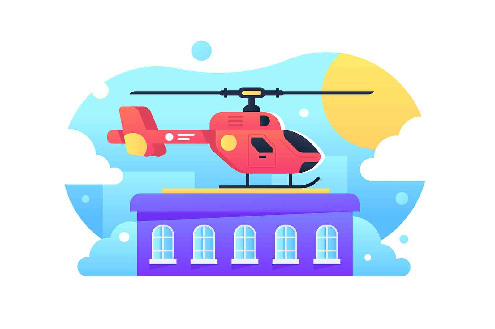 Helicopter standing on rooftop vector illustration. Helipad for landing flat style. Residential building in city. Air transport and vip concept.