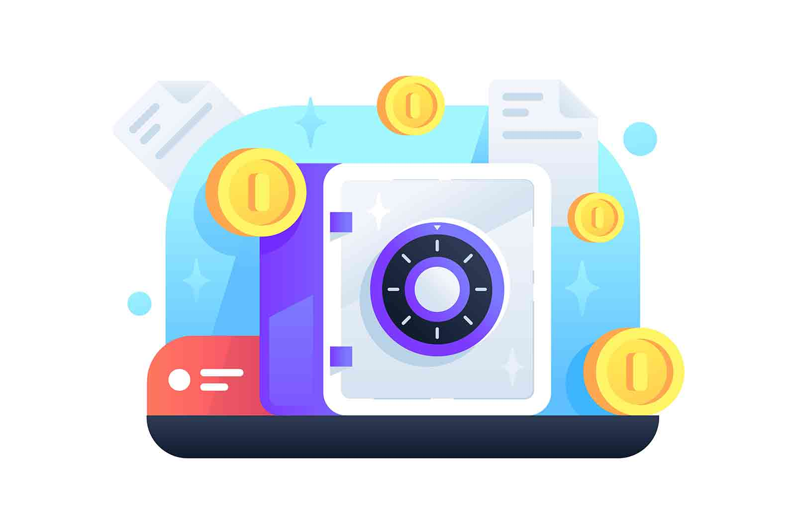 Safe with golden coins, lock for money security. Isolated illustration concept of cash protection technology.
