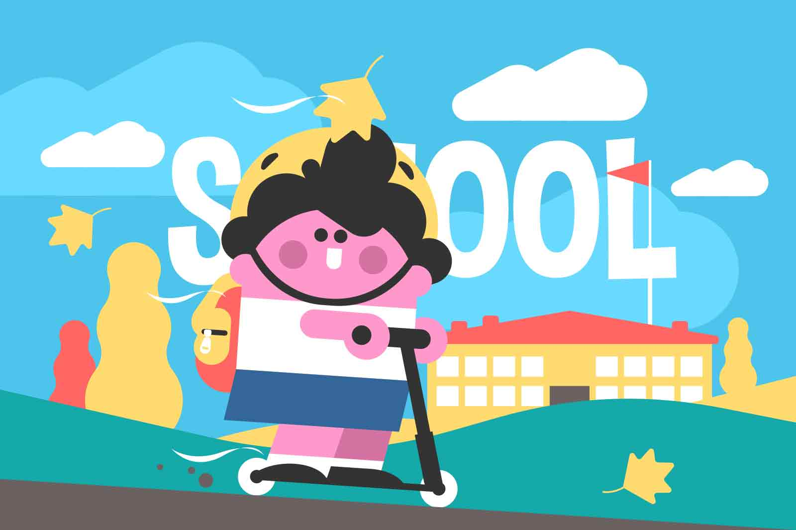 Kid goes on scooter to school vector illustration. Happy child ride outdoors flat style. Childhood, entertainment, vehicle, fun concept
