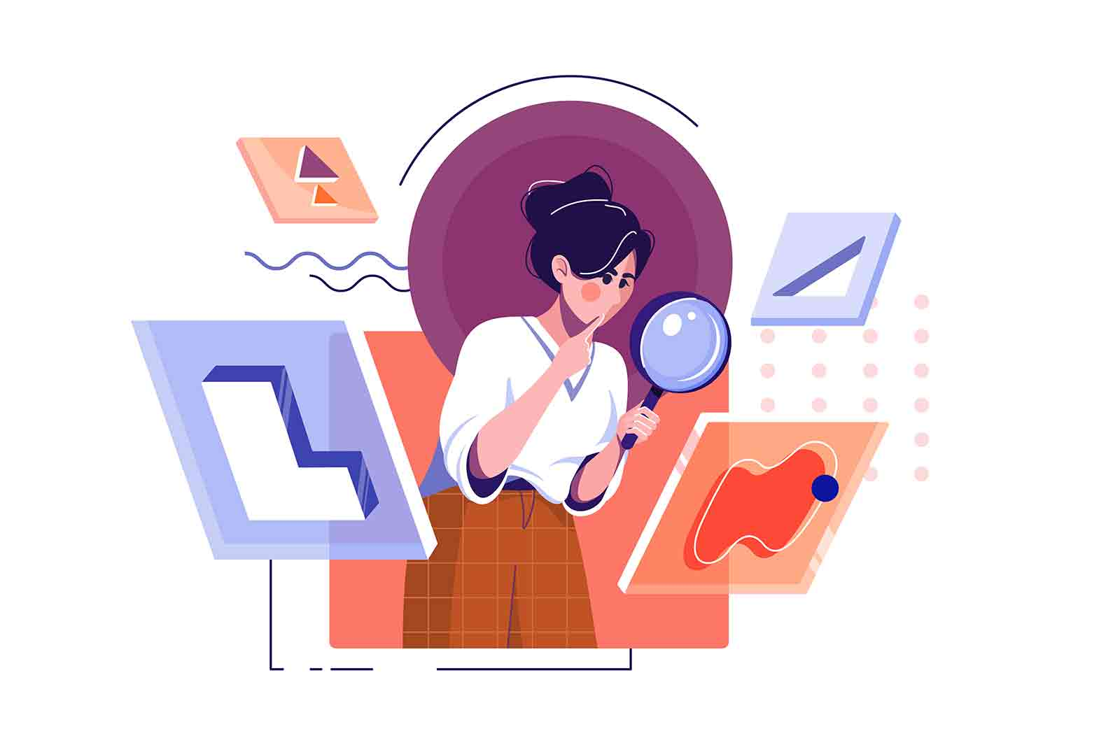 Woman in search with magnifying glass vector illustration. Search for opportunities, look into future flat style. Explore, research concept