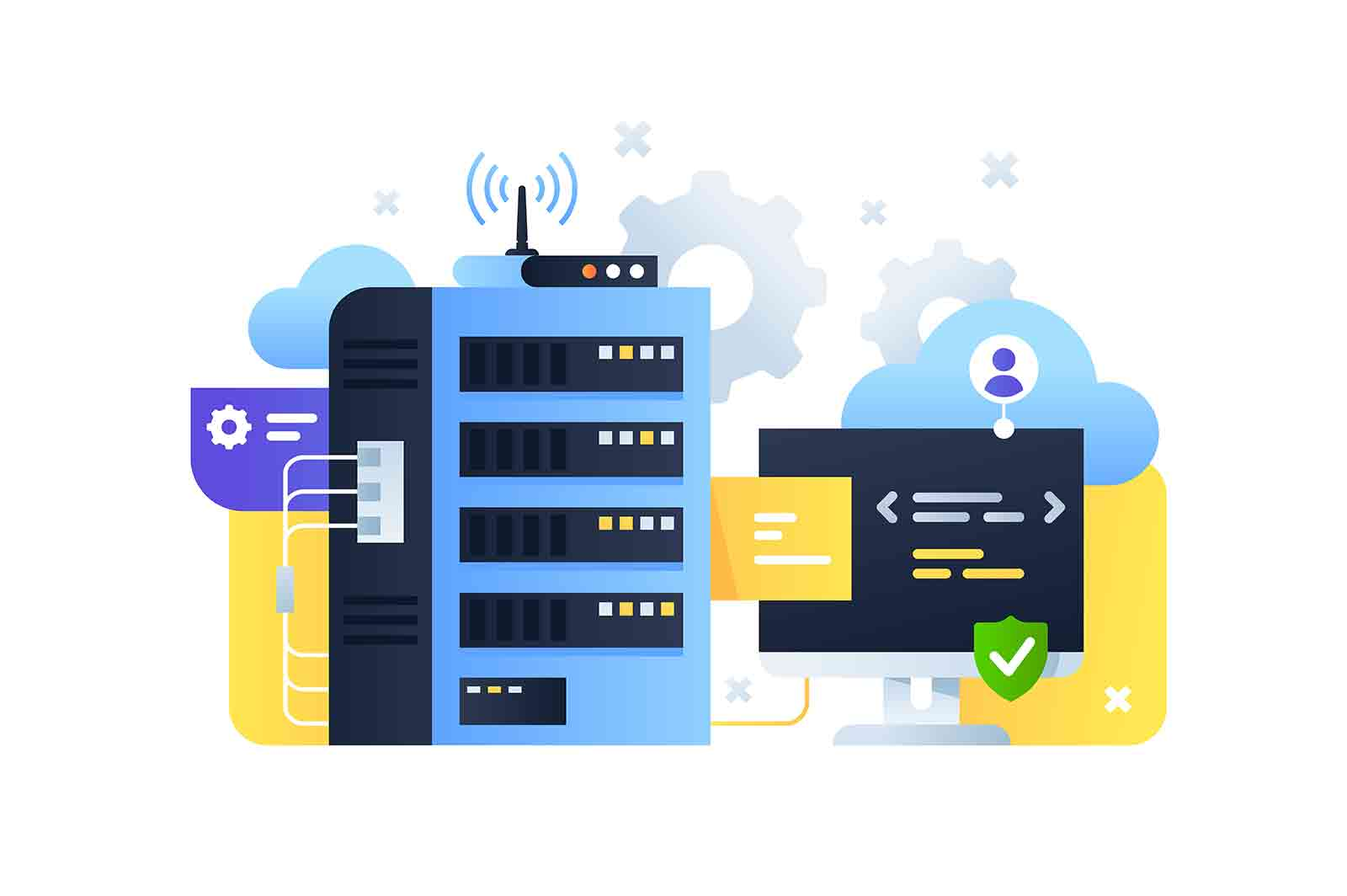 Cloud servers computer system with programming. Digital and online technology using for modern connected pc technology with wireless upgrade.