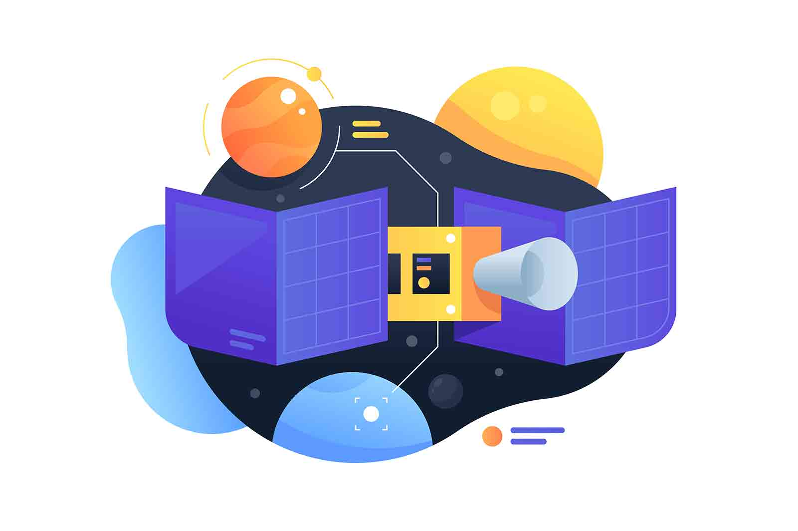 Modern technology satellite using study of celestial objects in space. Icon concept of science for orbiting the earth monitoring, tracking and describing planets.