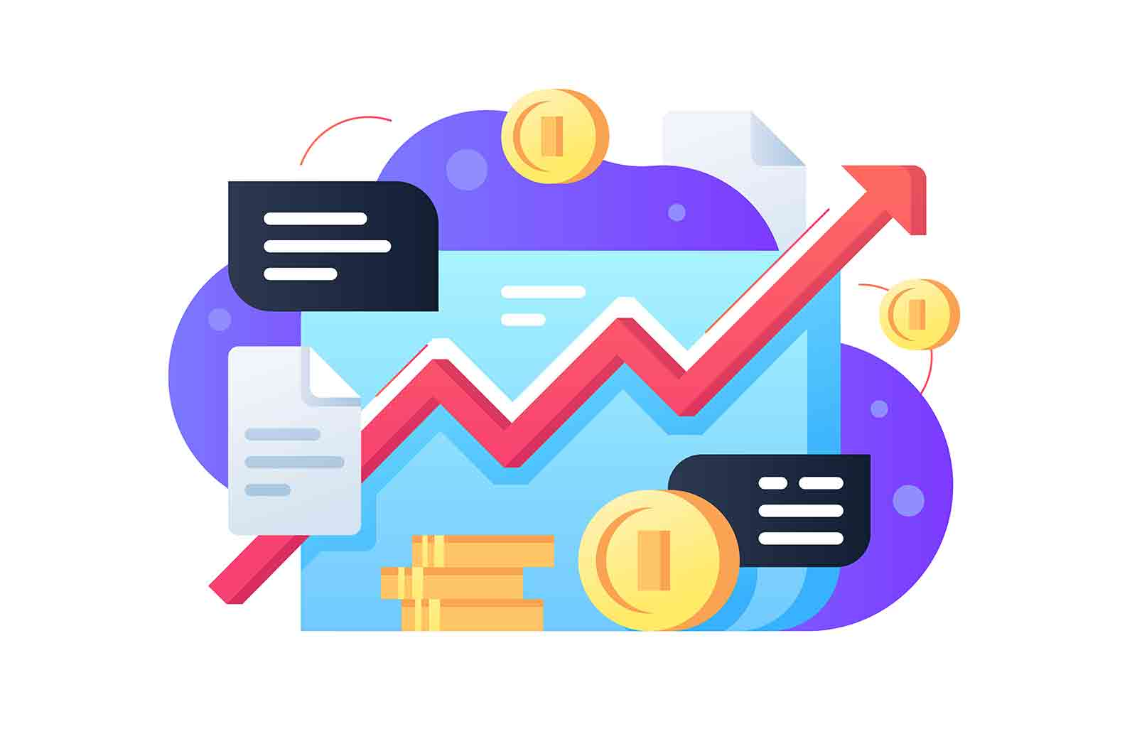Stock market with coins vector illustration. Red increasing line flat style. Financial chart. Data analysis and business concept.