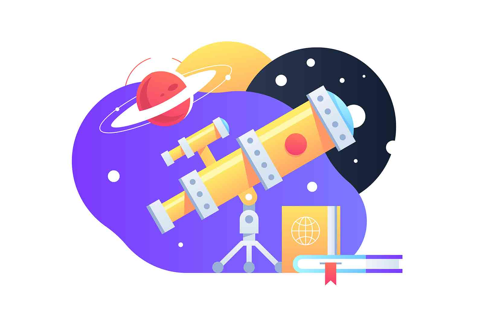 Bright yellow telescope vector illustration. Planets and galaxy flat style. Explore cosmos. Study star. Education and astronomy concept.