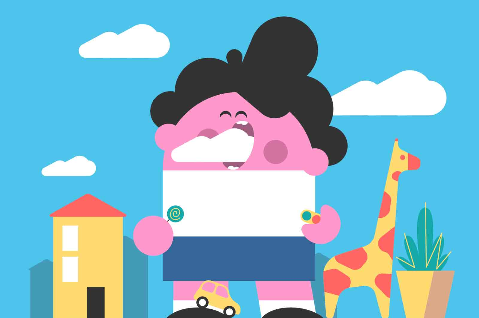 Toddler boy eating cloud on street vector illustration. Tall child catch cloud with mouth flat style. Fun, childhood, outdoors concept