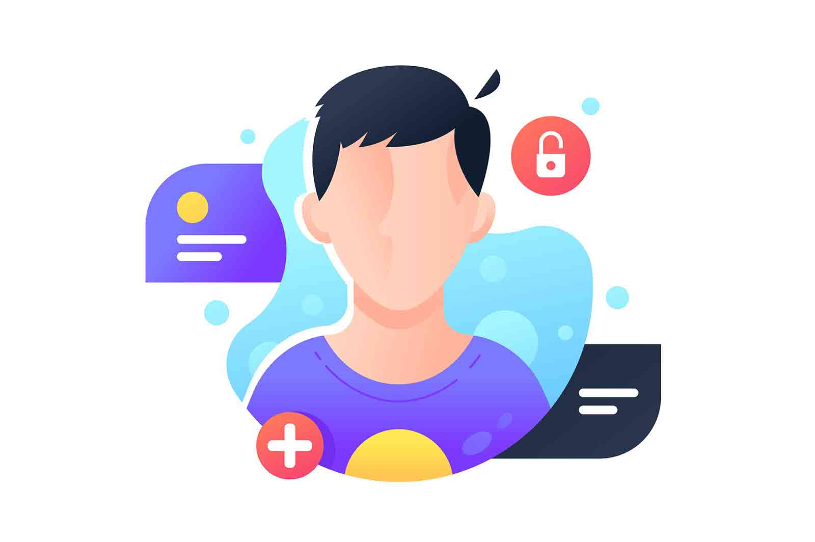 Man user account avatar illustration, icon. Isolated icon concept of male character picture using for online verification and presentation.