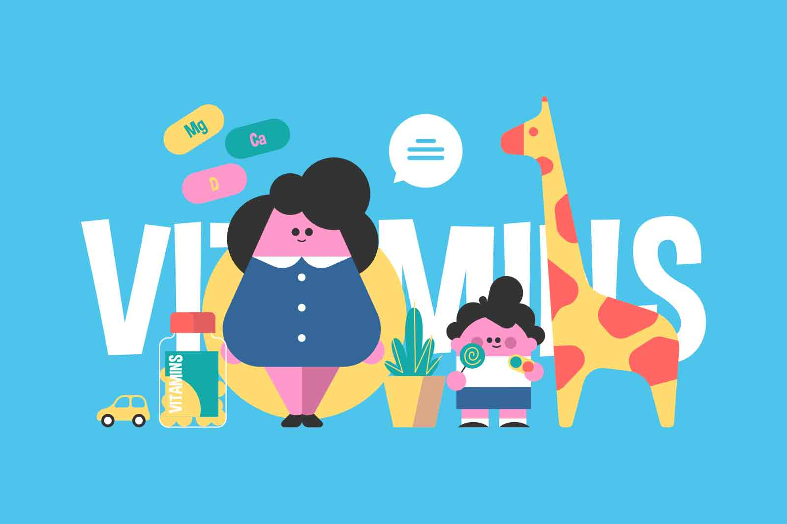 Benefit of vitamins for children vector illustration. Mother with kid, healthy eating flat style. Nutrition, supplements, growth concept